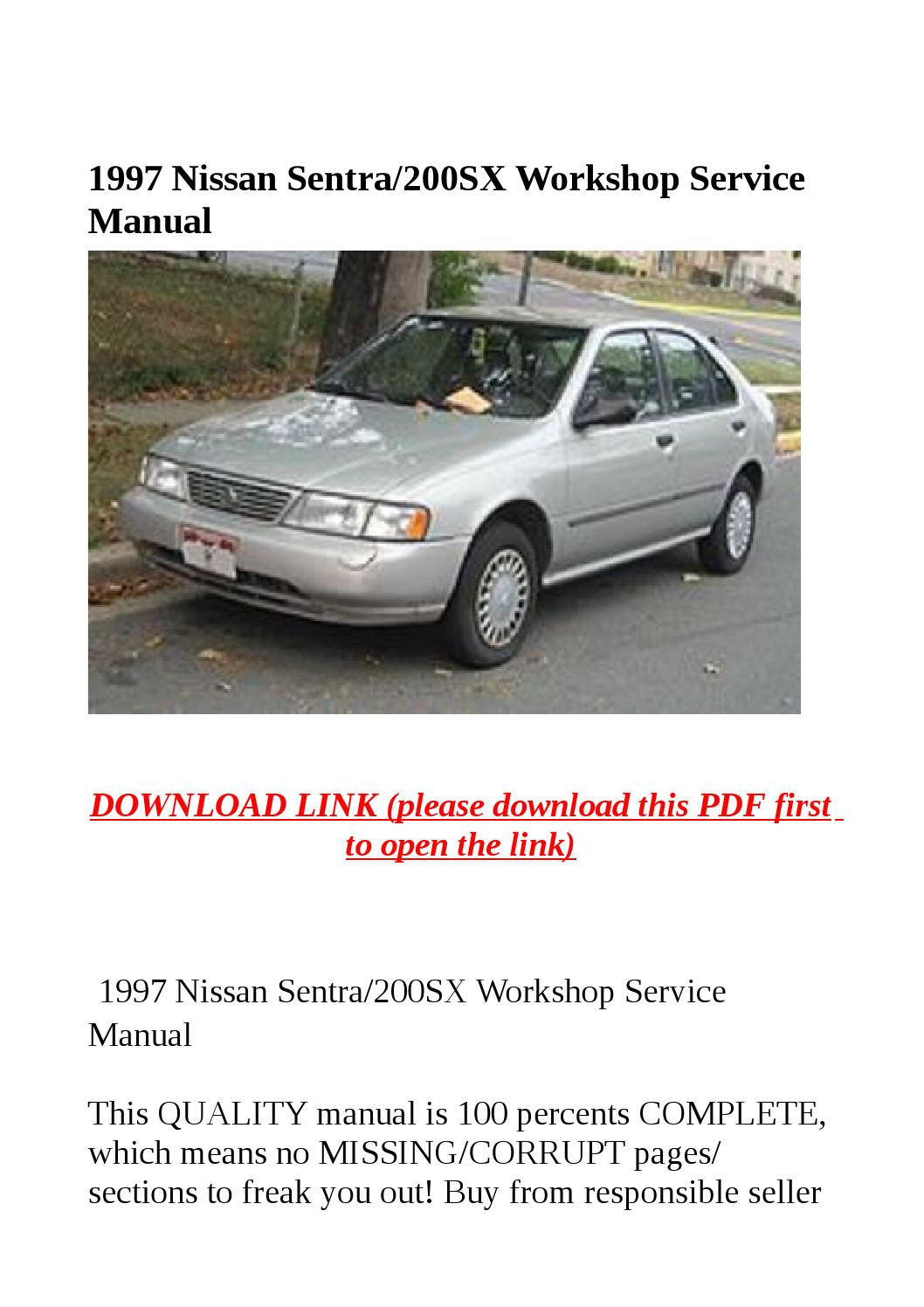 1997 nissan sentra service manual download