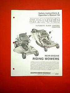 owners manual for snapper lawn mower model sb 95