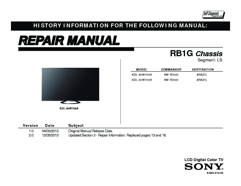 sony lcd tv service manual free download